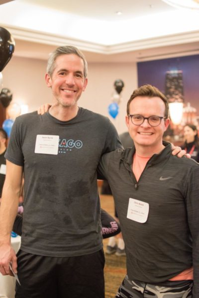 two male climbers at Hustle Chicago pose together