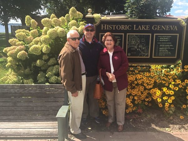 Nestor Rivera with his parents in Lake Geneva, Wisconsin.